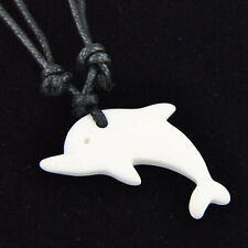 Cool Carved dolphin bone Pendant Necklace