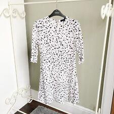 Primark White Black Print Skater Dress 10