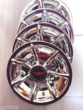 "GOLF CART CHROME 10"" HUB CAP SET OF 4 Fits CLUB CAR EZ GO YAMAHA TRD red 4pcs"