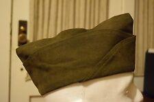Vintage 1951 Green Wool Garrison Cap Sz 7 Campaign Envelope Military Uniform Hat