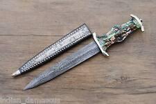 Custom India Damascus Steel WW2 German Military Soldier Souvenir Silver Dagger