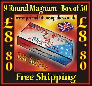 Sexy Pins Tattoo Needles 9 Round Magnum -   Box of 50  - (Tattoo Supplies)