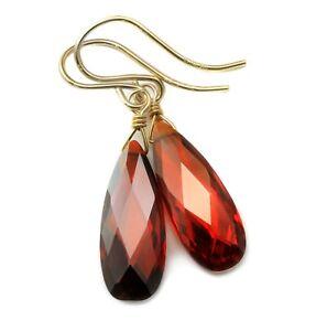 14k Gold Cubic Zirconia Earrings Sim Red Garnet CZ Sterling Faceted Long Drops