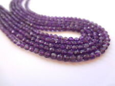 4mm Round Faceted Amethyst Semi Precious Gemstone Beads - Half Strand(31-33pcs)