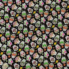 100% Cotton Fabric John Louden Tossed Skulls Floral Mexican Candy Skull 150cm W