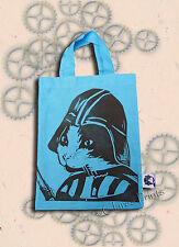 Darth Vadar CAT Blu Tote Bag Linocut scritto a mano Small Tote Shopping Bags