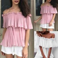Women Off Shoulder Sexy Strapless Chiffon T-Shirt Summer Casual Loose Top Blouse
