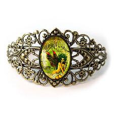 Absinthe Fairy Gothic Art Nouveau Antique Bronze Glass Filigree Cuff Bracelet