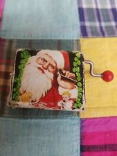 """Vintage Hand Crank Music Box 2"""" Wrapped Christmas Gift Plays Santa is Coming to"""