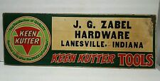 Rare J.G. ZABEL HARDWARE KEEN KUTTER SIGN LANESVILLE INDIANA IN