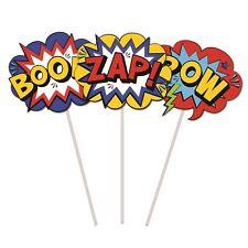 Boys Birthday Party Superhero Comics Cake Topper 3pk POW Zap Boom Picks Décor