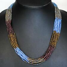"Luscious 12 Strand 24"" Blue Peacock Bronze Glass Seed Beads necklace"