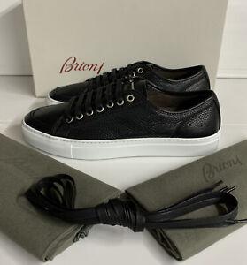 Brioni Full Grain Leather Sneakers Black 9.5 UK 43.5 EU New Box Made In Italy
