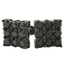 9 Stone Box Black CZ Bling Bling Earrings