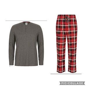 MENS size 3XL Grey top Red check long arm leg midseason pyjamas XXXL RIVERS NEW