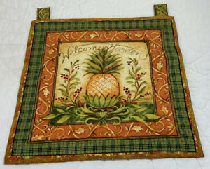 Country Quilt Wall Hanging, Welcome Garden, Flowers, Scrolls, Pineapple, Cotton