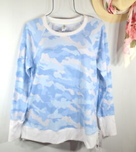 New  RBX Women's Blue Camo Activewear Blouse Sweatshirt Pullover Top L NWT