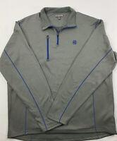 PETER MILLAR Men's Crown Sport 1/4 Zip Pullover Golf Shirt Size L Gray Blue