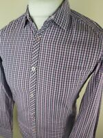 mens ted baker long sleeve shirt purple gingham check size 2 small 38 chest