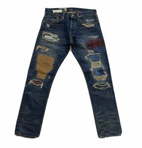 Men's Polo Ralph Lauren Sullivan Slim Patchwork Denim Jeans Size 38 x 32