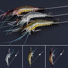 3pcs Saltwater Fishing Lures Artificial Luminous Soft Shrimp Hook Crank Baits