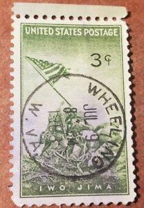 GM54 U.S 1945 Iwo Jima 3C WHEELING CANCELLATION Used Stamp