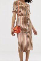BNWT RIVER ISLAND tan brown white stripe button midi dress size 16 RRP £50