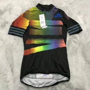 New Adidas Womens Adistar Pride Cycling Jersey Size Small LGBTQ Multi FJ6570