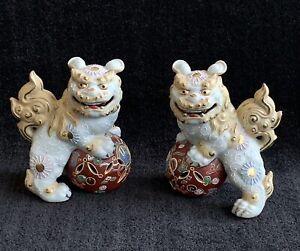 Japanese Kutani Foo Dogs ~ Hand Painted Porcelain Statues ~ Pair
