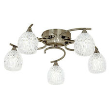 Endon Boyer 5 Light Antique Brass Frosted Glass Flush Ceiling Fitting BOYER-5AB