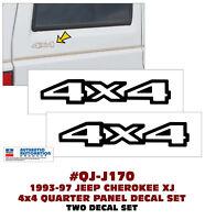 QJ-J170 1993-97 JEEP CHEROKEE XJ - 4x4 QUARTER DECAL SET  - 2 DECALS - LICENSED