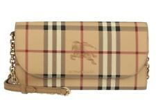 NEW BURBERRY CURRENT LOGO HENLEY HAYMARKET WALLET CLUTCH BAG W/CHAIN