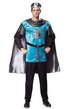 Mens Azure Blue Medieval Royal Knight Fancy Dress Costume