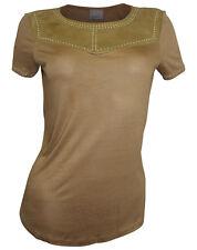 VERO MODA Shirt Gr. S, 36 khakibraun Jersey Wildleder Optik Nieten neu