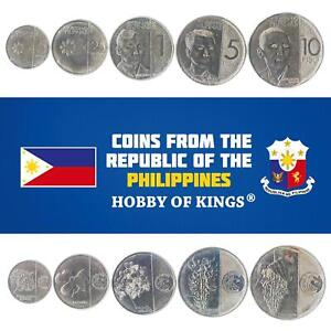 MONEY SET OF 5 COINS FROM PHILIPPINES. 5, 25 SENTIMOS, 1, 5, 10 PISO. 2017-2019