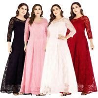 Plus Size Women Lace Long Evening Formal Party Cocktail Prom Ball Gown Dresses