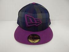 New Era 59Fifty New Era Logo Plaid/Purple  Fitted Baseball Cap-7 1/2