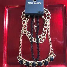 🆕 Steve Madden Gold & Black Multi-Chain Necklace