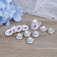 15Pcs 1:12 Dollhouse miniature tableware porcelain ceramic coffee tea cups se FT