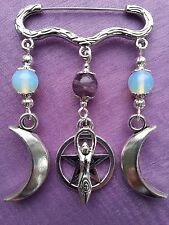 TRIPLE MOON GODDESS & PENTACLE BROOCH / CLOAK PIN - MOONSTONE - AMETHYST  WICCAN