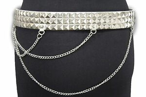 Women Men White Faux Leather Biker Fashion Belt Silver Metal Chain Size S M L XL