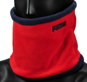 PUMA Fleece Reversible Neck Warmer Running Red Navy Face Mask Scarf 05352504