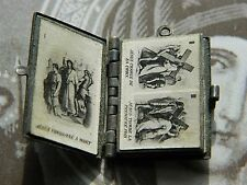 Antique Gorgeous Stations of The Cross Miniature Flip Book Medal Pendant