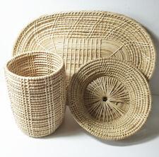 3 pcs Basket Hampers Tray Rattan Weaving Wicker Woven Handmade Lattice Handmade