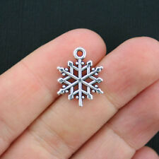 12 Snowflake Charms Antique Silver Tone 2 Sided SC950