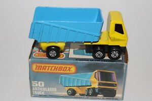 MATCHBOX SUPERFAST #50 ARTICULATED TRUCK, BLUE & YELLOW, EXCELLENT, BOXED, LOT A