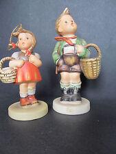 2 Vintage Schmid, Goebel, Hummel Designs, One Boy w/Basket, One Girl w/Basket