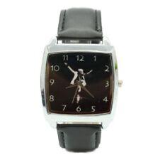 Michael Jackson Dance Move Black Genuine Leather Band Square Wrist Watch
