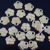 """40 PCS Gold Tone Metal Alloy """"Hand Made"""" Engraved Flower Pendant Charm #36380"""