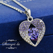 18K White GOLD GF Purple In MY HEART NECKLACE with SWAROVSKI CRYSTAL SX4108 Gift